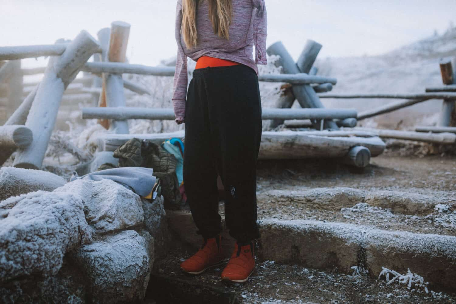 Emily wearing Sweats and slippers at the boiling river wy - themandagies.com