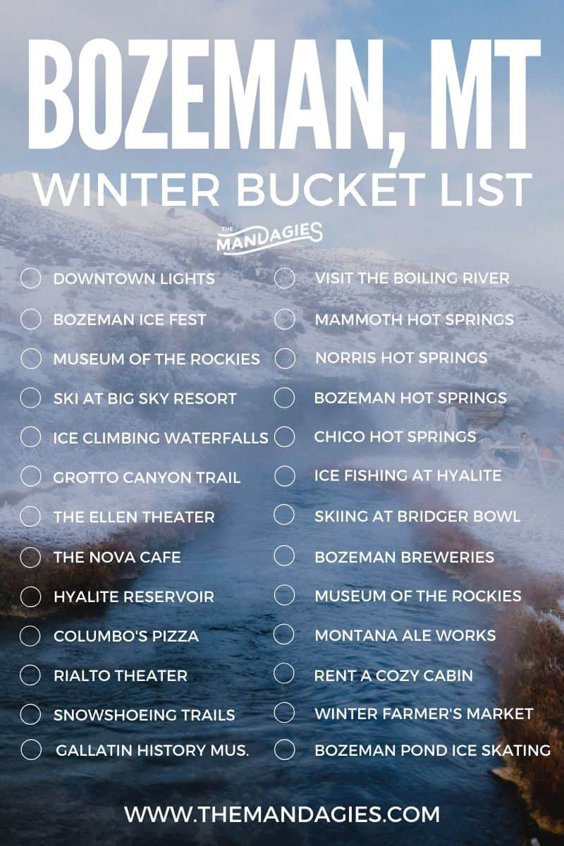 Looking for the best things to do in Bozeman, Montana in winter? We're sharing everything from ski resorts, hot springs, breweries and so much more to enjoy on your Montana vacation! Save this bucket list for more Montana Inspiration later! #montana #bozeman #BozemanMT #winter #vacation #hotsprings #travel #southwestmontana #photography #bucketlist #inspiration #USA