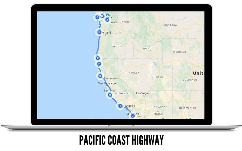 The Pacific Coast Highway Winter Road Trip Map - TheMandagies.com