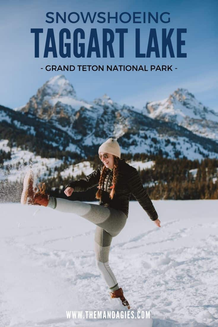 Looking for an amazing snowshoeing adventure in Grand Teton National Park, Wyoming? The Taggart Lake Trail is a trail open year-round, with gorgeous views of the Teton Mountains the entire time! Plan your trip right here! #wyoming #taggartlake #grandtetons #grandtetonnationalpark #grandtetonnps #snowshoe #travel #mountains #winter #jacksonhole