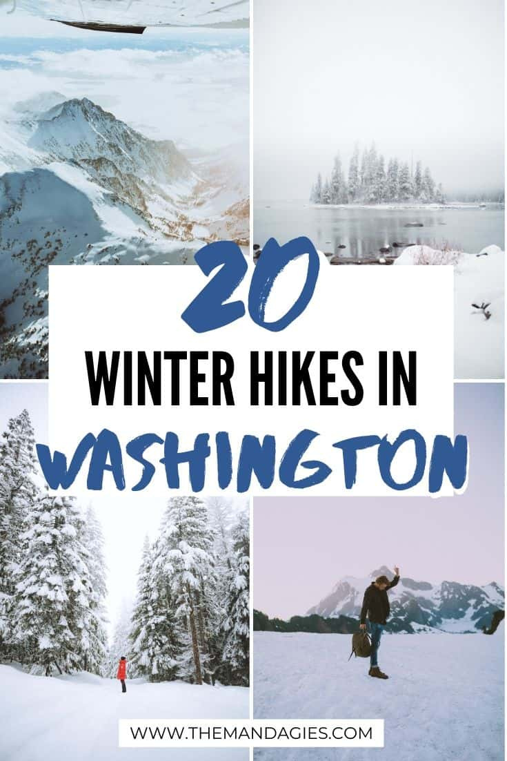 Looking for the best Washington winter hikes to take this season? We're sharing the best PNW trails to take near Seattle, in Eastern Washington, and on the Olympic Coast! Find your next winter adventure here! #washington #washingtonstate #winter #hiking #easternwa #snow #travel #alpenglow #photography #mountains