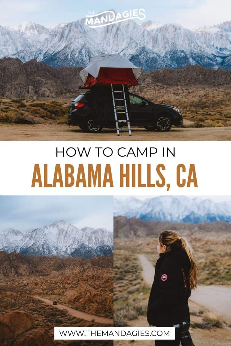 Alabama Hills Camping can feel am little daunting, especially when it's your first time camping for free in Southern California! We're sharing everything you need to know here, including sustainability tips, packing, cooking, and mroe! #california #highway395 #southerncalifornia #socal #hiking #westcoast #travel #westernUSA #photography #alabamahills #camping #USA