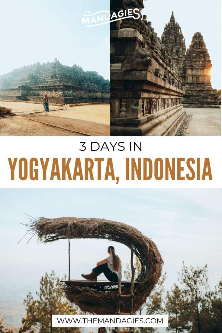 Ready to discover the best things to do in Yogyakarta? We're sharing the ultimate itinerary for three days in Central Java, including the best ancient temples (Borobudur and Prambanan) Malioboro Street, and so much more! #indonesia #yogyakarta #centraljava #borobudur #asia #southeastasia #travel #prambanan #photography #landscape #tropical #travelblogger