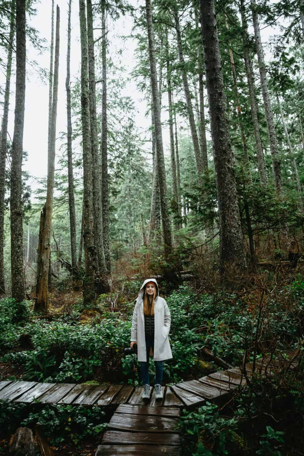 Emily Mandagie wearing raincoat, Cape Flattery - TheMandagies.com