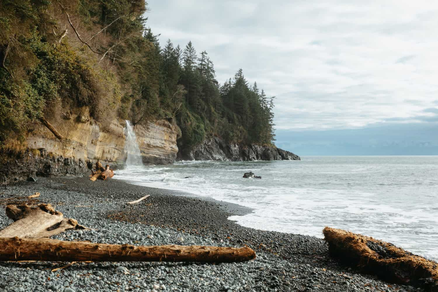 Mystic Beach Waterfall - Port Renfrew Beaches - TheMandagies.com