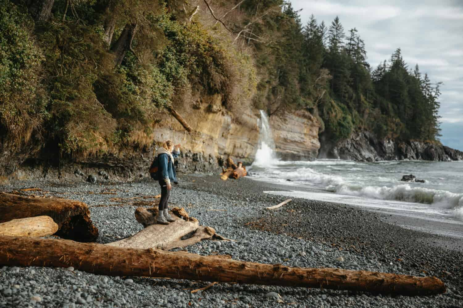 Emily Mandagie hiking at Mystic Beach, Port Renfrew, BC
