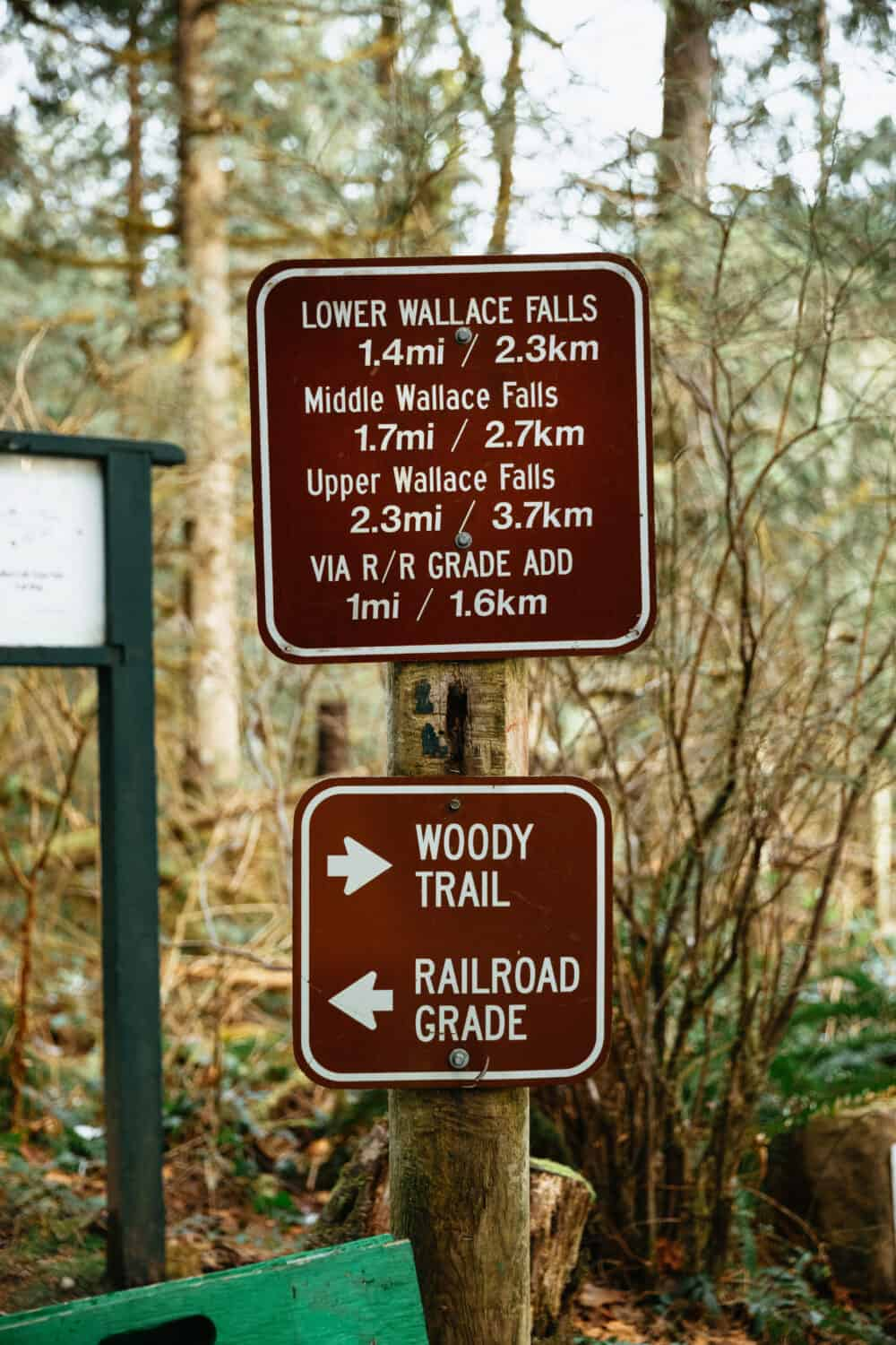 Signs along Wallace Falls Trail, Washington - TheMandagies.com