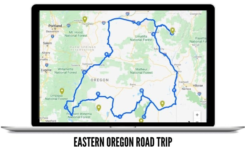 Eastern Oregon Road Trip Route MAP