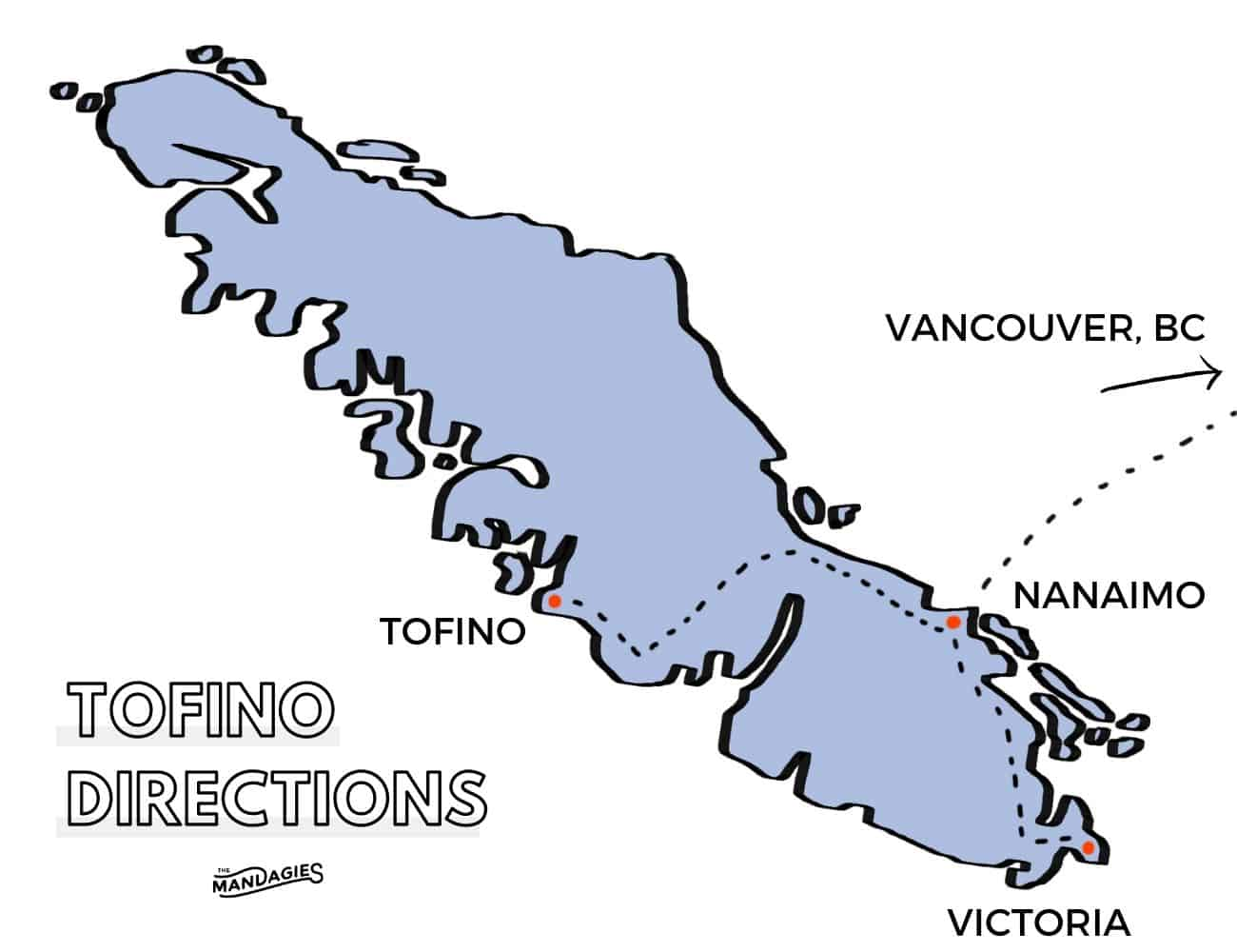 Directions to Tofino, BC, Vancouver Island Route Map TheMandagies.com