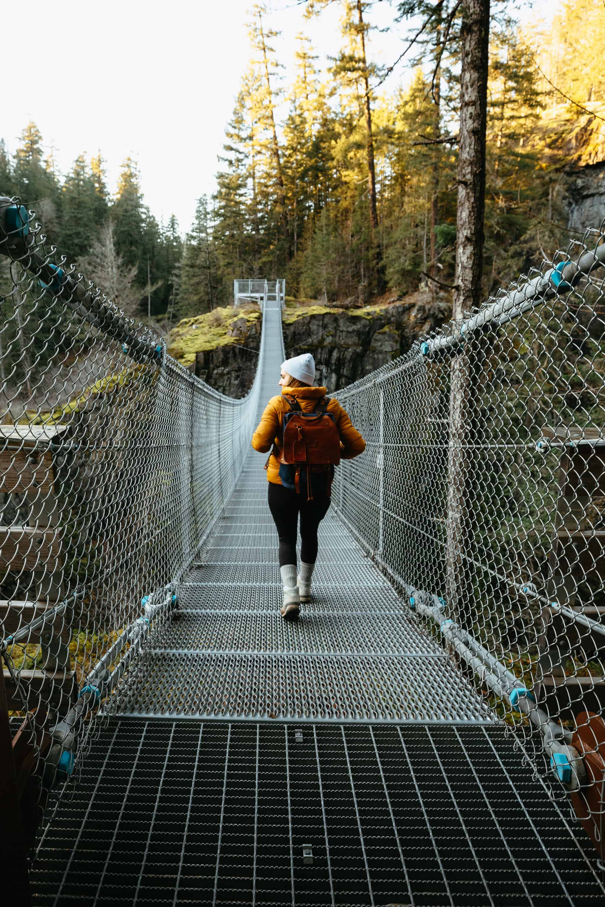 Eily Mandagie on Elk Falls Suspension Bridge - TheMandagies.com