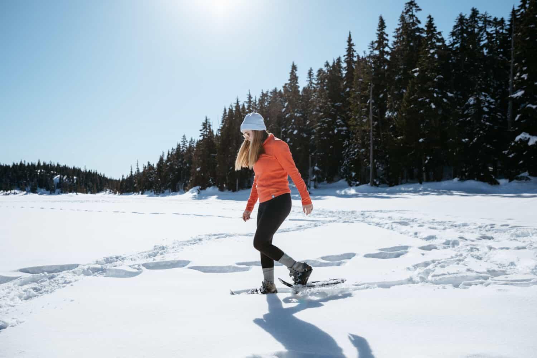 Emily Mandagie snowshoeing Forbidden Plateau - Strathcona Provincial Park - TheMandagies.com