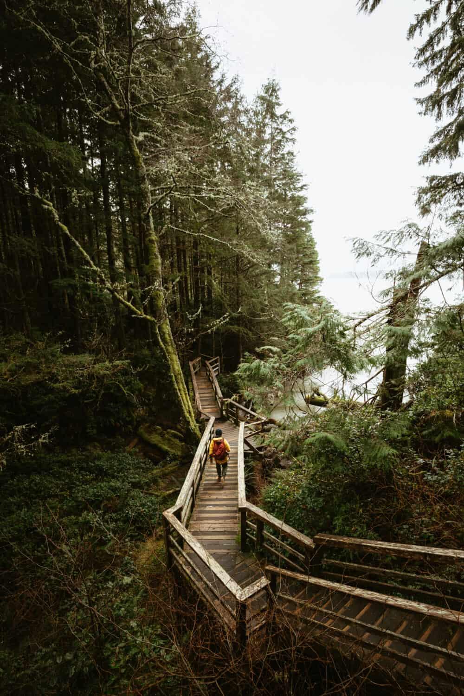 Berty Mandagie exploring Tofino hiking trails