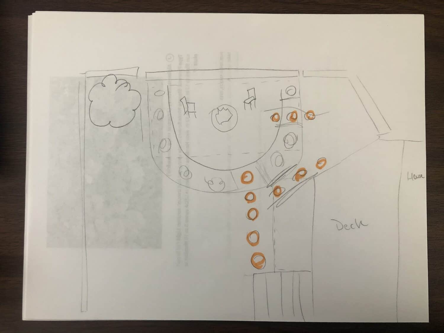Backyard Fire Pit Rough Plan Sketch