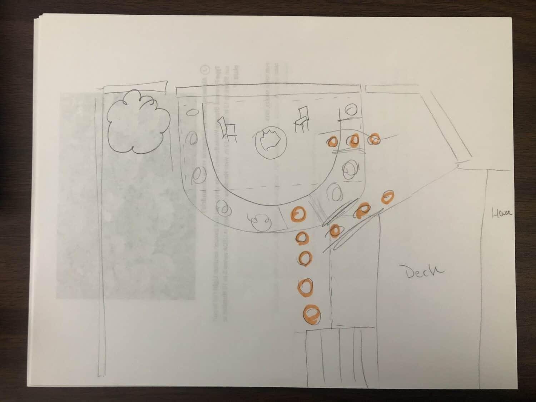 Backyard Fire Pit Rough Plan Sketch