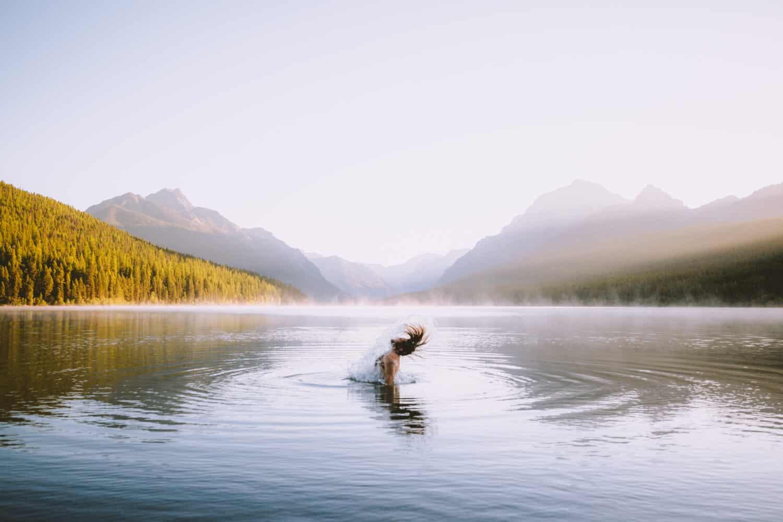 Morning swim on Bowman Lake
