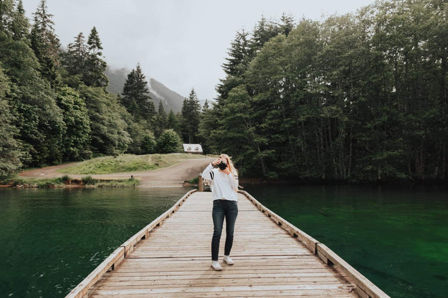 Emily Mandagie at Lake Crescent Dock - Things To Do In Olympic National Park - TheMandagies.com