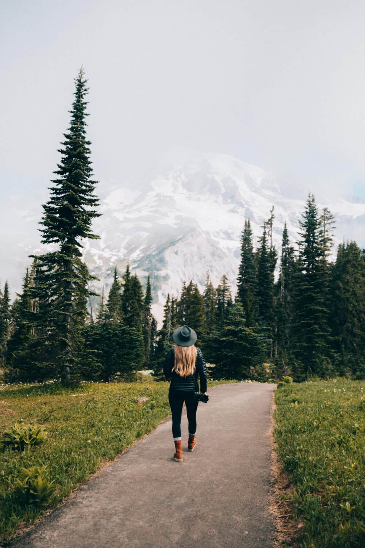 Emily Mandagie walking at Mount Rainier National Park - Paradise Area - TheMandagies.com