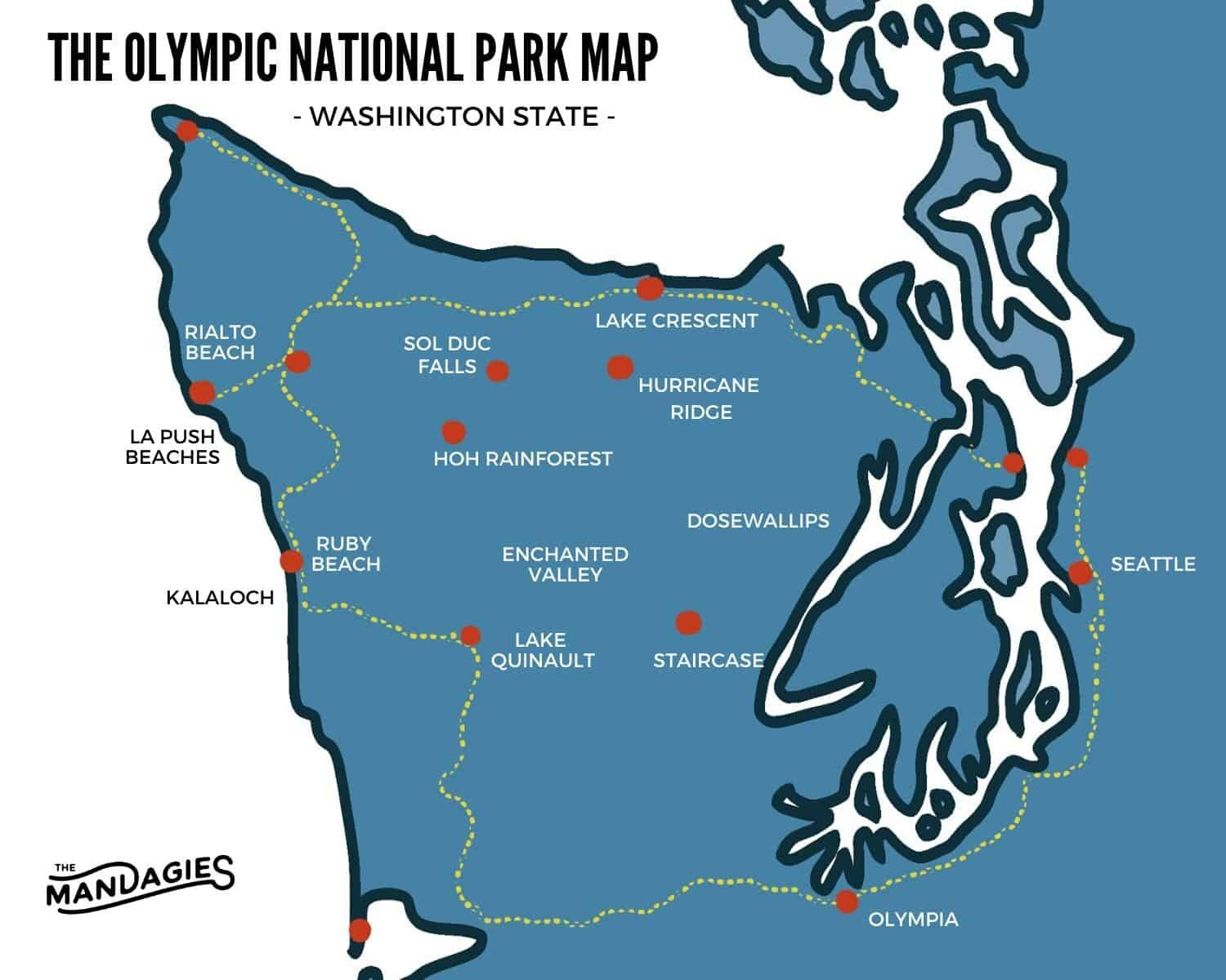 Map of Olympic National Park - By Emily Mandagie - TheMandagies.com