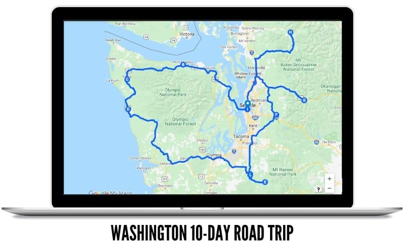 Washington 10 Day Itinerary Road Trip Route - TheMandagies.com
