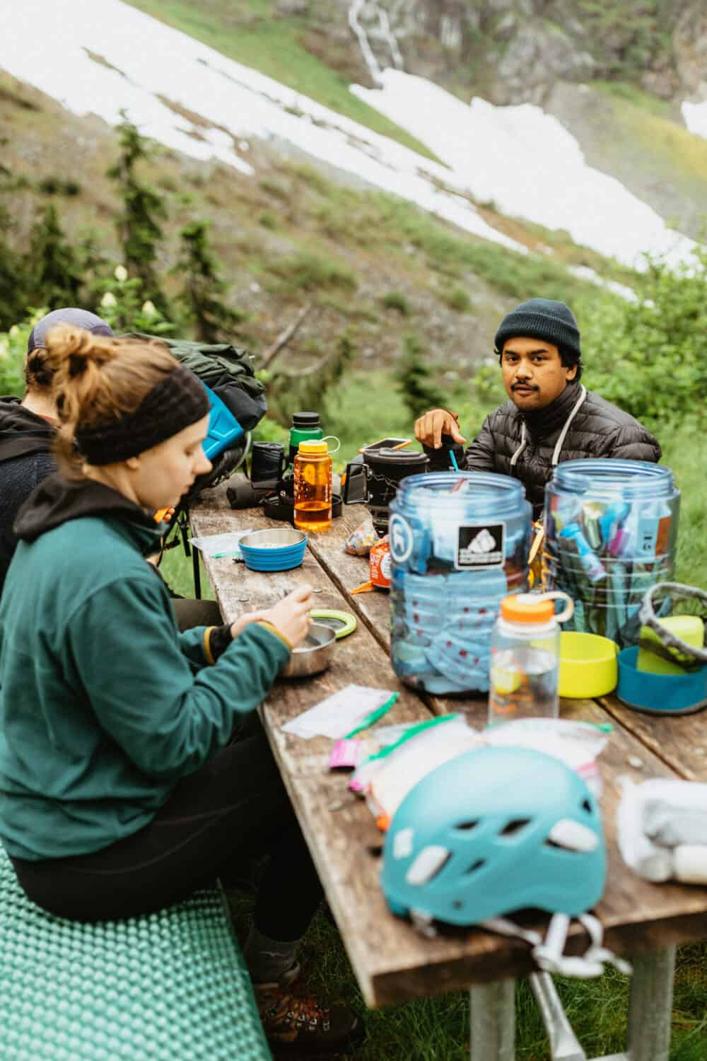 Berty eating breakfast in the backcountry