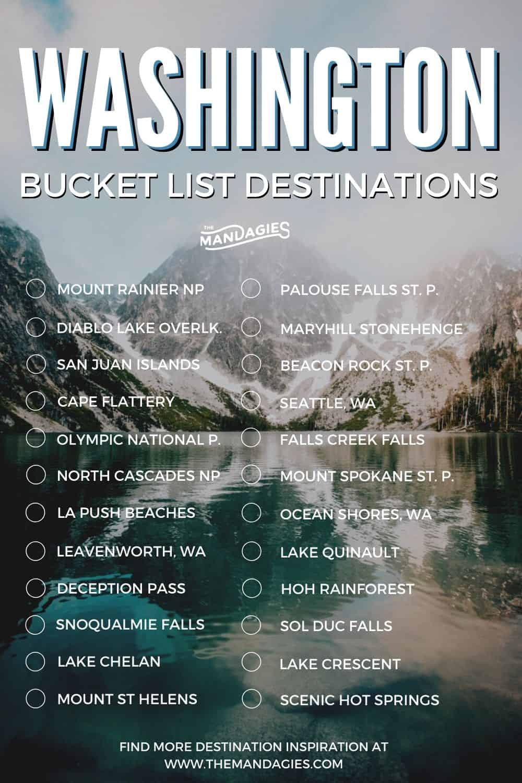 Washington State Travel Inspiration - Bucket List For Washington - TheMandagies.com