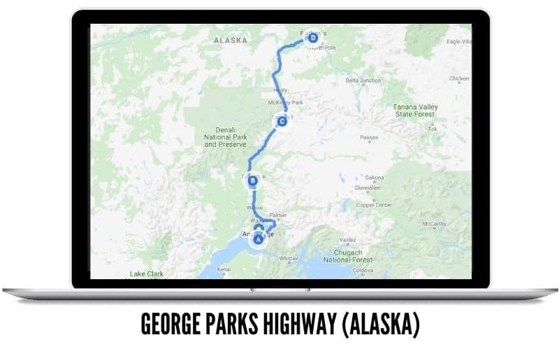 American West Coast Road Trip USA - George Parks Highway MAP in Alaska