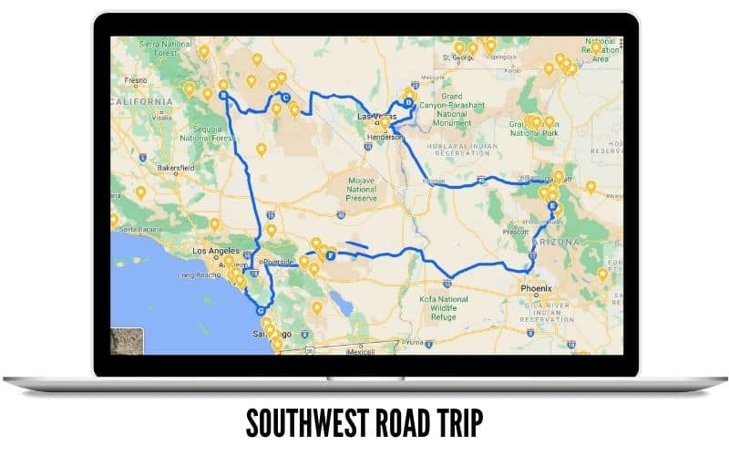 Big Southwest Road Trip Route MAP - Road Trip In USA West Coast