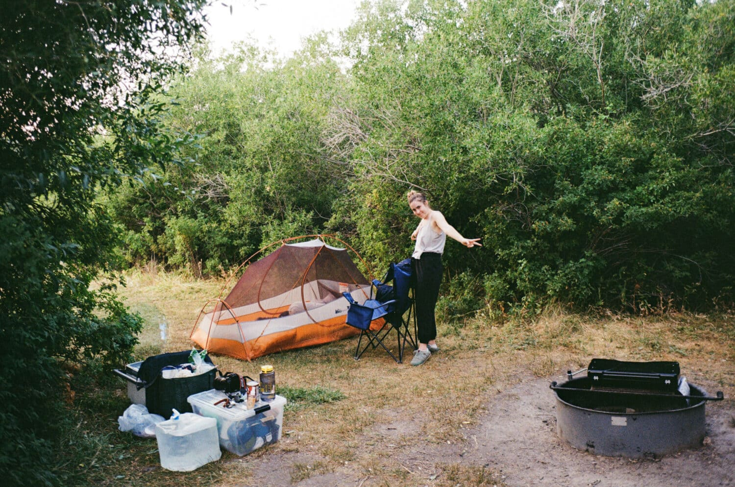 Emily Mandagie camping in Eastern Oregon