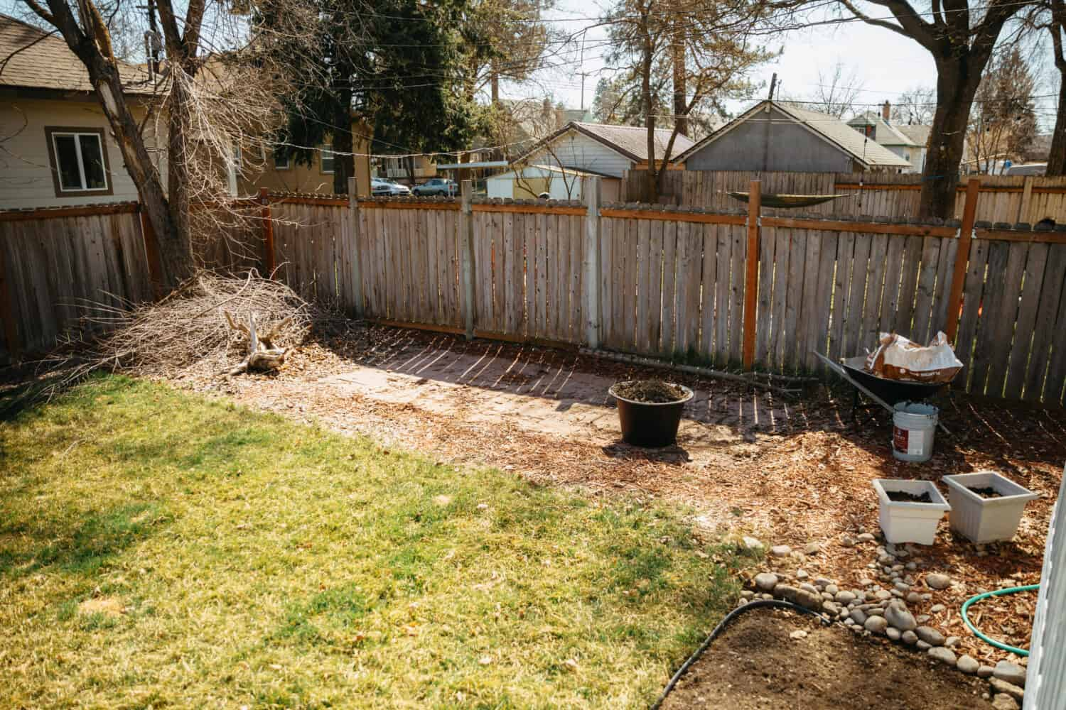 Before Photos of DIY Fire Pit Area