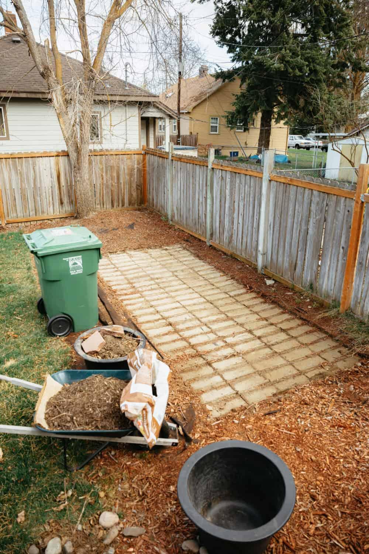 Brick pavers removed for DIY Fire Pit Prep - TheMandagies.com
