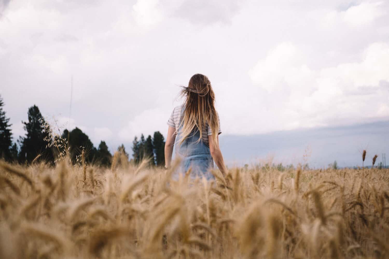 Emily Mandagie in wheat field