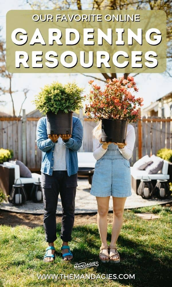 Have you discovered a love for gardening? We're sharing our favorite online gardening resources to help you in your own journey! This post includes our favorite gardening podcasts, gardening youtube channels, books resources and so much more! #gardening #diygarden #flowers #vegetablegarden #flowergarden #beginnergardening