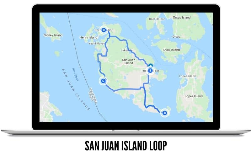 San Juan Island Loop Route Map - Scenic Drives in Washington State