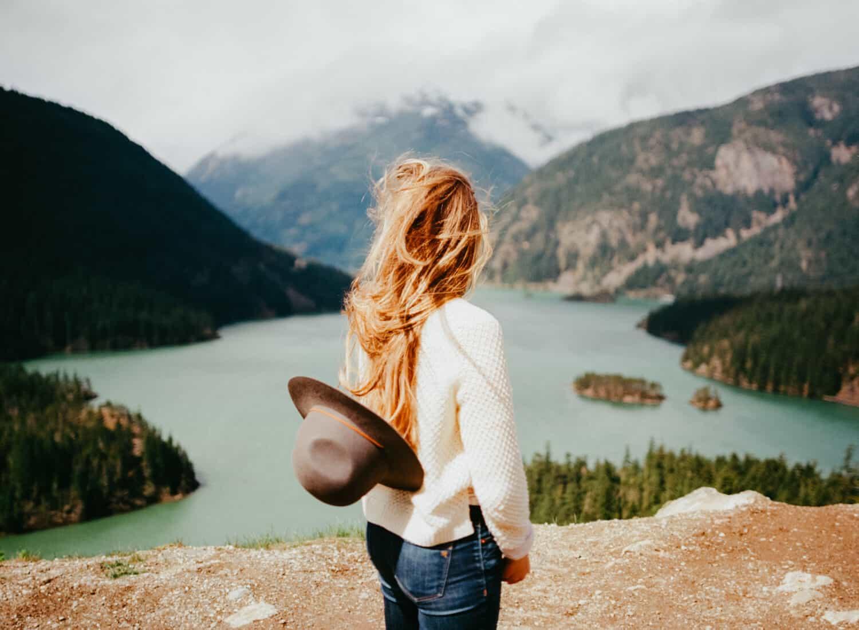 Emily Mandagie standing at Diablo Lake, Washington