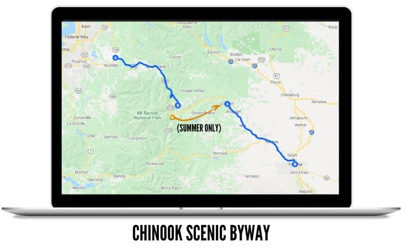Chinook Scenic Byway Route Map - Places To Drive In Washington State
