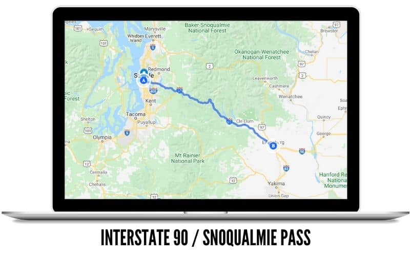 Snoqualmie Pass Interstate 90 Route Map