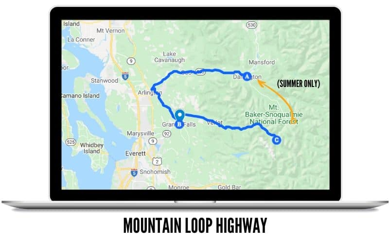 Mountain Loop Highway - Scenic Drives in Washington State Route Map