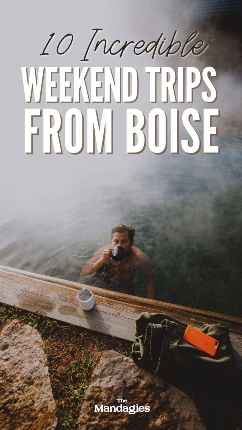 Ready to escape the city for a few days? We're sharing the best weekend getaways from Boise, Idaho in this post. From Sun Valley, Stanley, McCall and more, you'll leave this post with so much Idaho vacation inspiration! #idaho #hotsprings #stanleyidaho #Roadtrip #sunvalley #mccall #boise #salmonriver #boatbox #mountains #travel #USAtravel #usa #photography #sunset #twinfalls