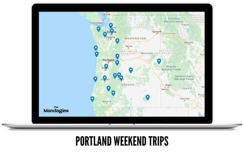 Map of Weekend Trips From Portland Oregon