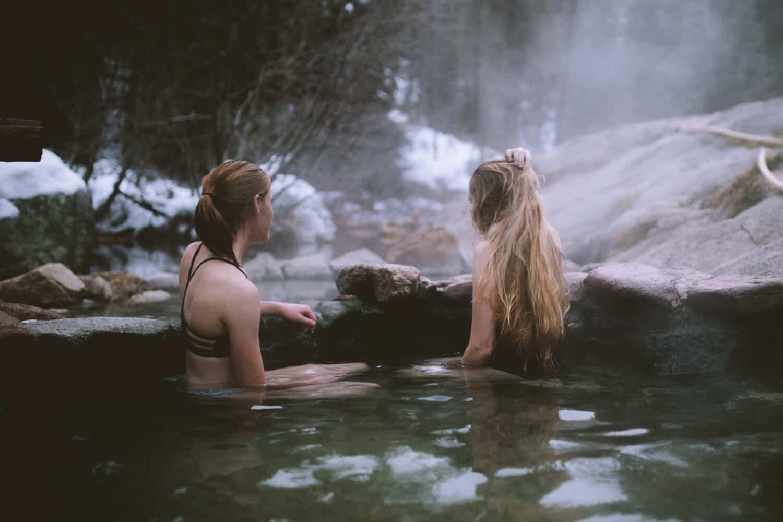 Emily sitting in Samuel's Hot Springs