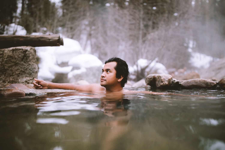 Berty in the soaking pool at Trail Creek Hot Springs