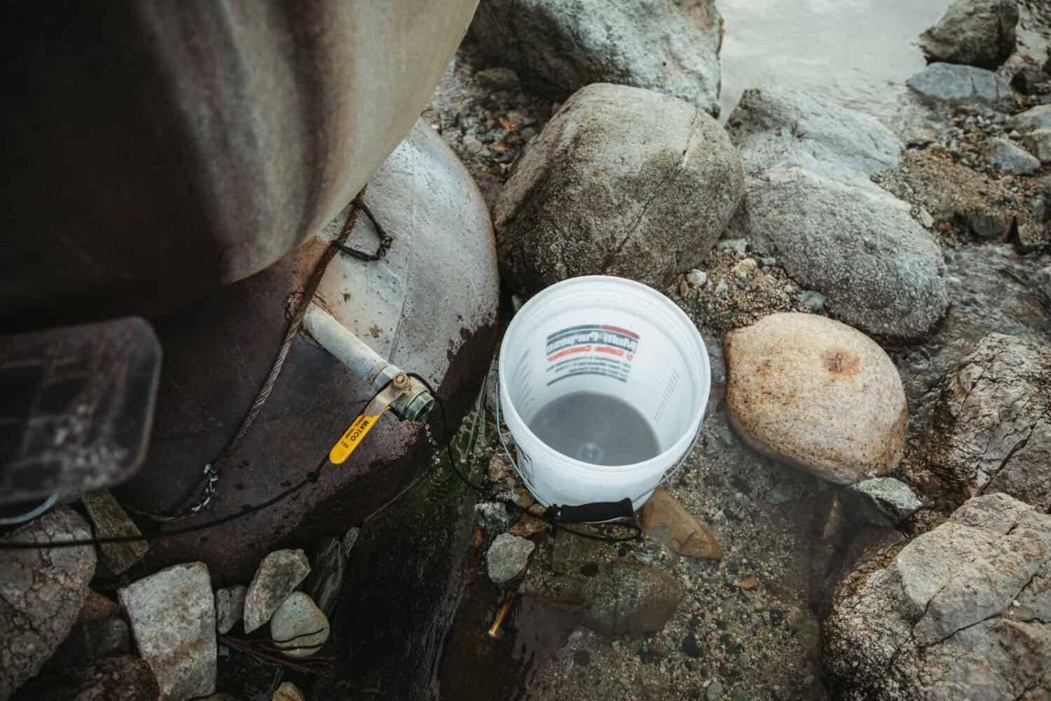 Bucket to use for cold river water in Salmon River