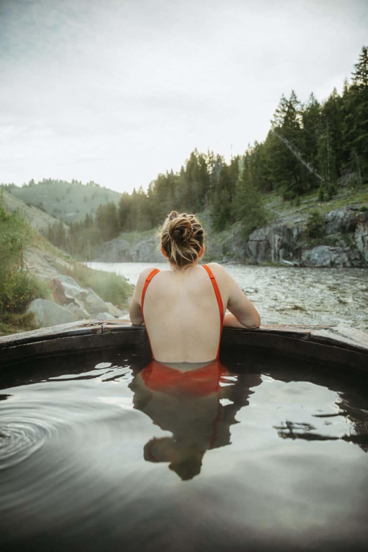 Emily Mandagie relaxing in Boat Box Hot Springs