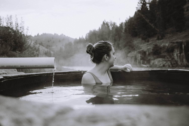 Emily Mandagie in hot springs near Stanley, Idaho