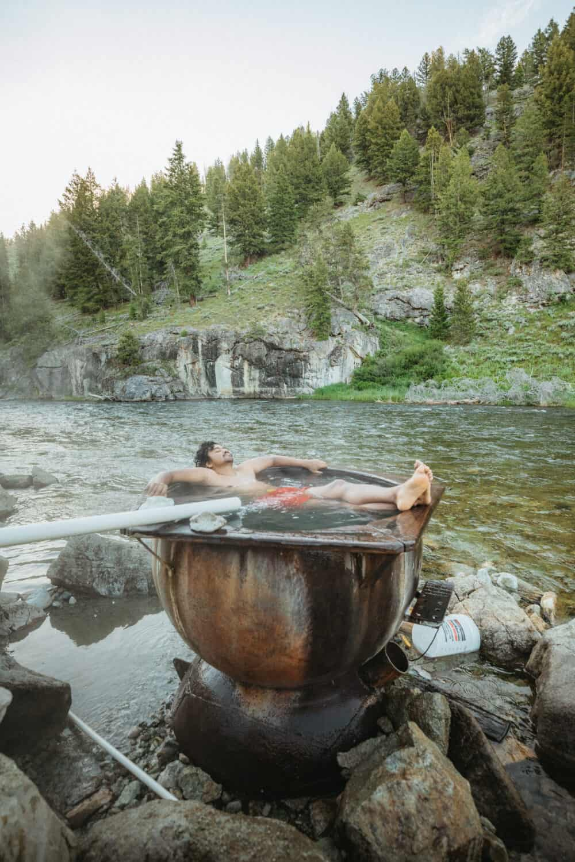 Berty Mandagie soaking at Boat Box Hot Springs Idaho