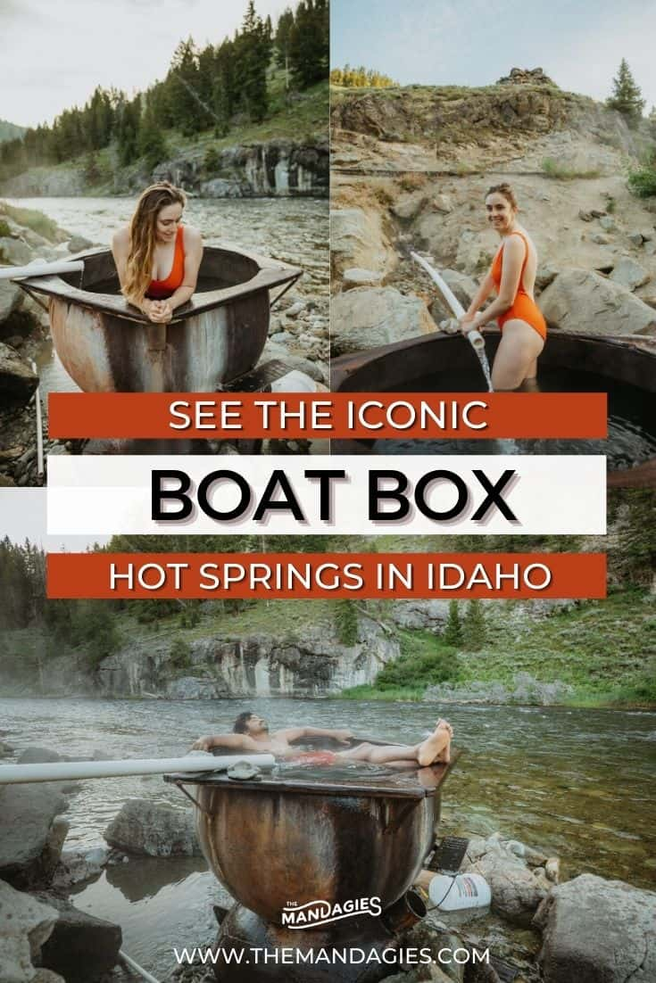Situated on the Salmon River, Boat Box Hot Springs is a single-tub hot springs near Stanley, Idaho just waiting to be visited! We're giving you all the details and more here, including the best times to visit, what to pack, and sharing what it's like to come in different seasons! #idaho #hotsprings #stanleyidaho #Roadtrip #summer #hiking #camping #salmonriver #boatbox #mountains #travel #USAtravel #usa #photography #sunset #stanley