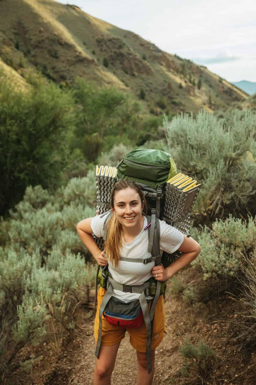 Emily Mandagie backpack camping at Goldbug Hot Springs, Idaho