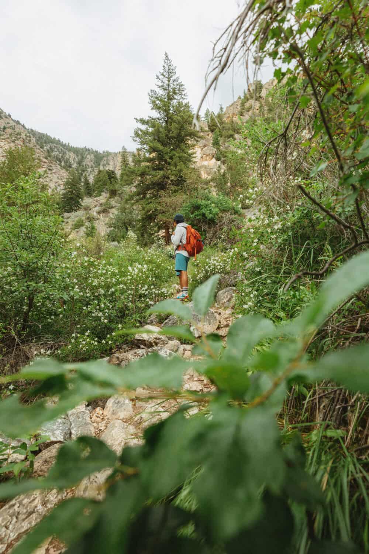Berty Mandagie hiking on Goldbug Hot Springs trail