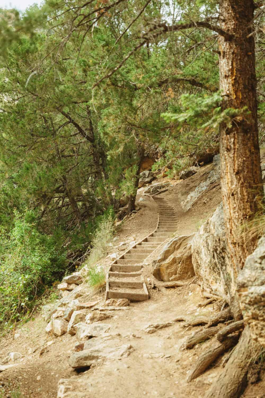 Stairs at Goldbug Hot Springs Trail Idaho