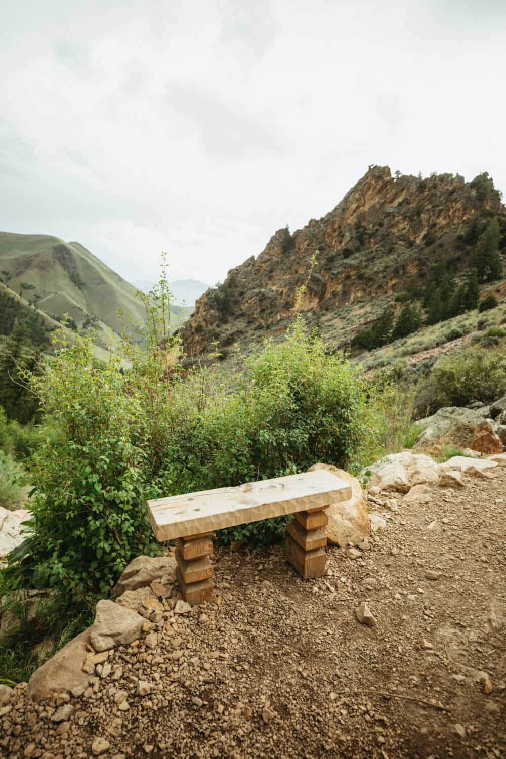 Bench at the edge of the pools, Elk Bend, Hot Springs